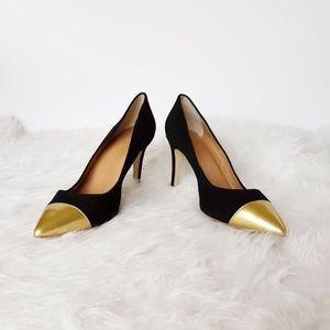 J. Crew Heels Women Size Black Gold Pointed Toe Sl